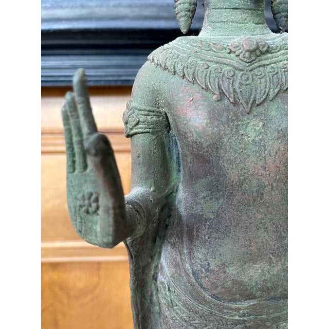 Late 18th Century Antique Lopburi Buddha Statue from Thailand For Sale - Image 5 of 13