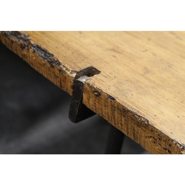 Extra Long Beech Farmhouse Dining Table With Iron Base For Sale - Image 5 of 6