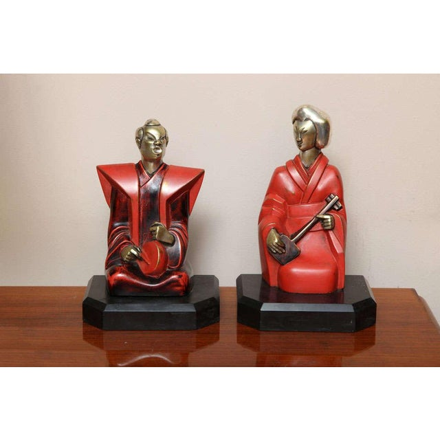 Beautiful Pair of Art Deco Cubist Bookends by Bouret For Sale - Image 10 of 10