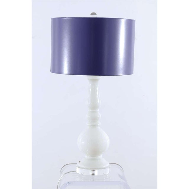 Italian Stellar Pair of Pure White Murano Lamps with Lacquer Shades For Sale - Image 3 of 8