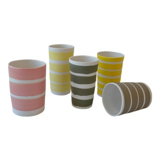 Contemporary Ceramic Multi Striped Cylindrical Vessels - Group of 5 For Sale