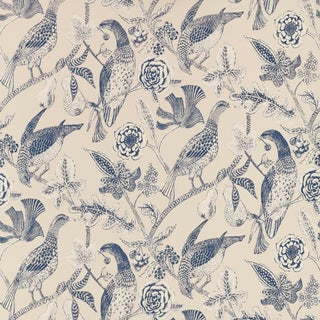 Sample - Schumacher Katmandu Wallpaper in Navy For Sale