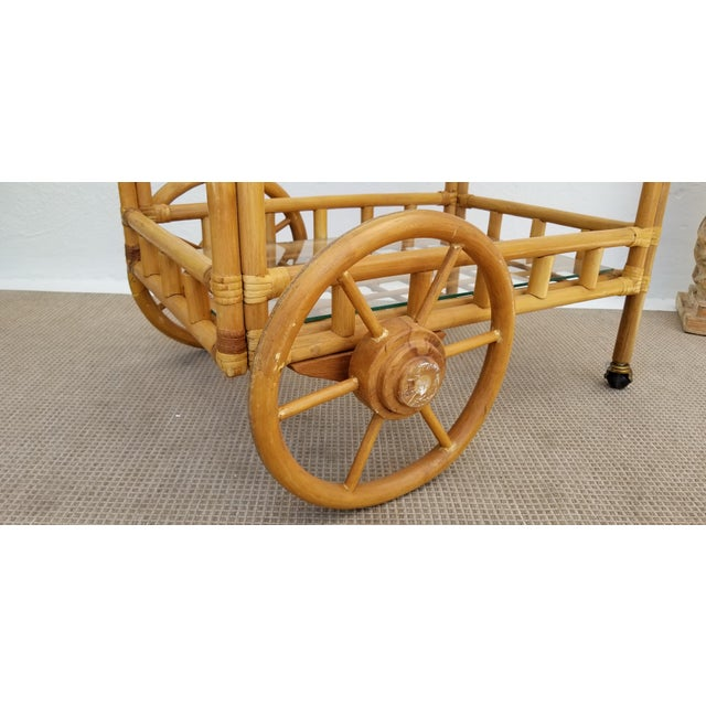 1970s Vintage Boho Chic Rattan & Bamboo Rolling Bar Cart For Sale - Image 5 of 13