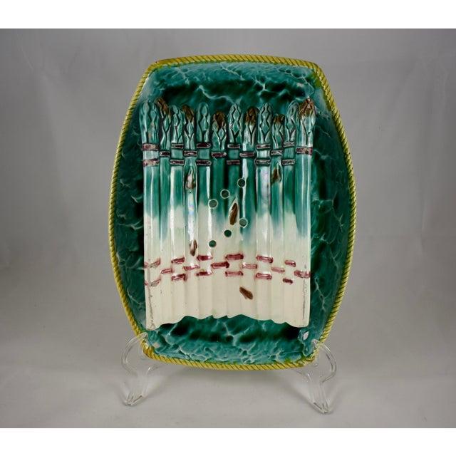 Majolica English Majolica Ocean Themed Asparagus Server For Sale - Image 4 of 11