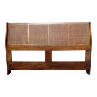 Mid Century Jack Cartwright for Founders Caned Full Double Size Headboard For Sale