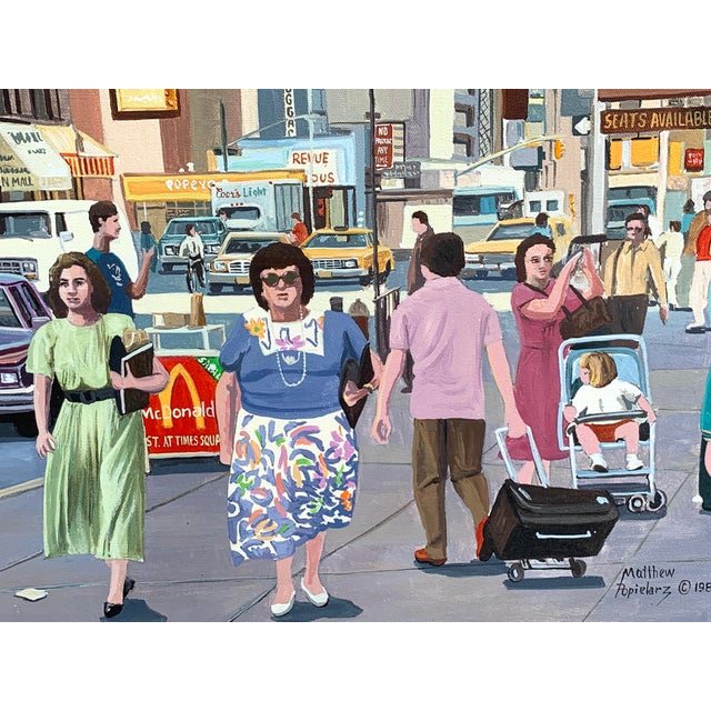 Canvas 1987 Nyc- Times Square Pop Art Original Painting by Matthew Popielarz For Sale - Image 7 of 11