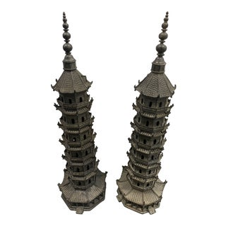 Antique Early 20th Century Chinese Bronze Pagoda Tower Sculptures - Set of 2 For Sale