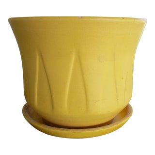 Gainey Ceramics Inverted Lotus Architectural Pottery Yellow Planter & Drip Pot