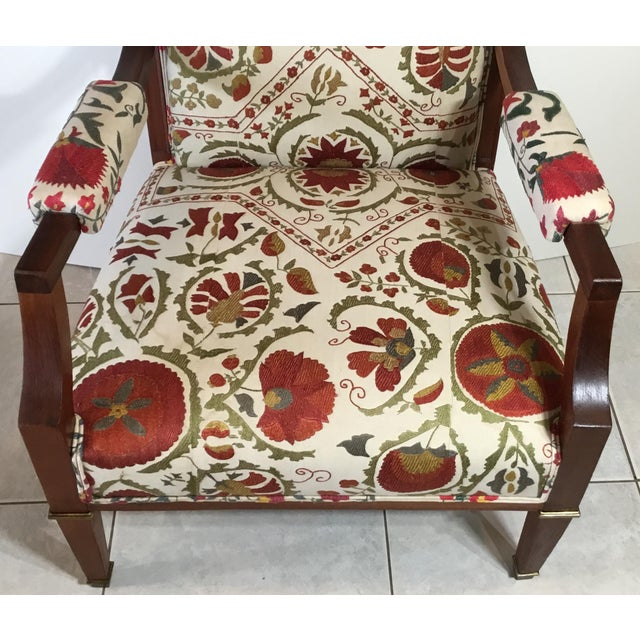 Green 1960s Vintage French Suzani Armchair For Sale - Image 8 of 13