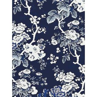 Sample, Scalamandre Ascot Floral Print, Indigo Wallpaper For Sale