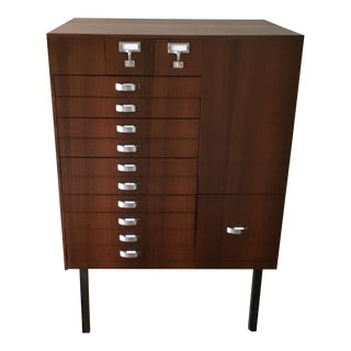 Mid Century Modern Library Cabinet, Card Catalog, Map Document Storage For Sale