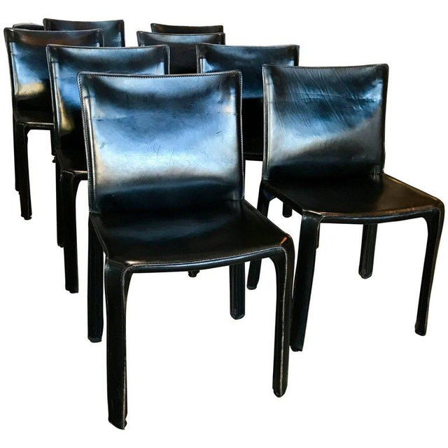 Cassina Chairs, Model Cab Nr. 412, Mario Bellini in Black Leather, Set of Eight For Sale - Image 9 of 9
