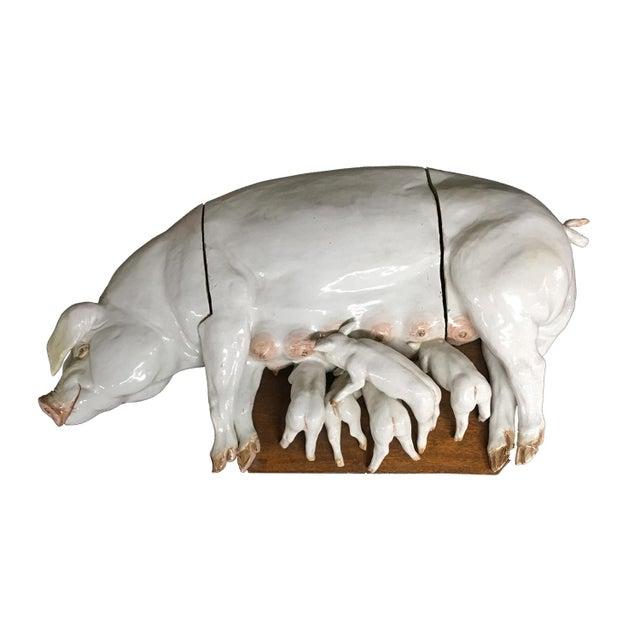 Large Wall Plaque Porcelain Pig W/ Piglets - German C. 1840 For Sale - Image 4 of 4