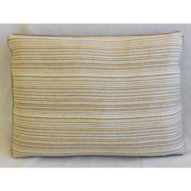 "Adirondack Scottish Hodsoll McKenzie Wool Stripe & Scalamandre Velvet Feather/Down Pillows 22"" X 16"" - Pair For Sale - Image 3 of 12"