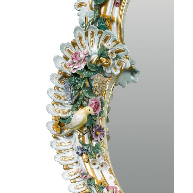 Ceramic MEISSEN PORCELAIN ROCOCO MIRROR For Sale - Image 7 of 10