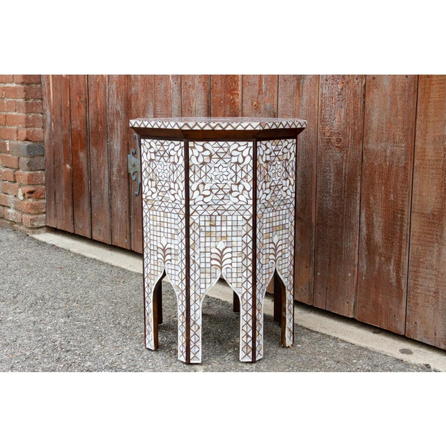 White Syrian Mother of Pearl Inlaid Table For Sale - Image 8 of 10