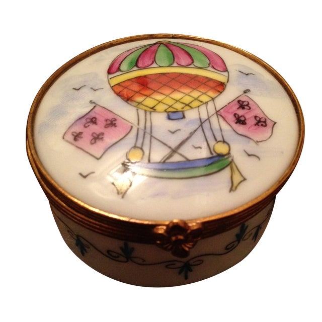 Vintage Hot Air Balloon Hinged Trinket Box For Sale