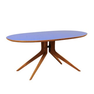 Italian Mid-Century Modern Elliptical Table With Retro Blue Top For Sale