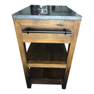 Crate & Barrel Bluestone Reclaimed Wood Small Kitchen Island