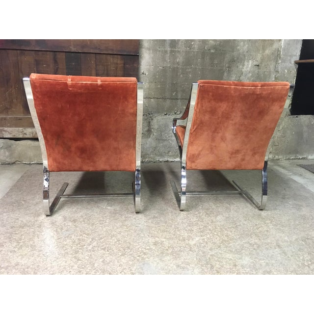 1970s Bert England Brueton Steel Frame Cantilevered Lounge Chairs- a Pair For Sale - Image 5 of 11
