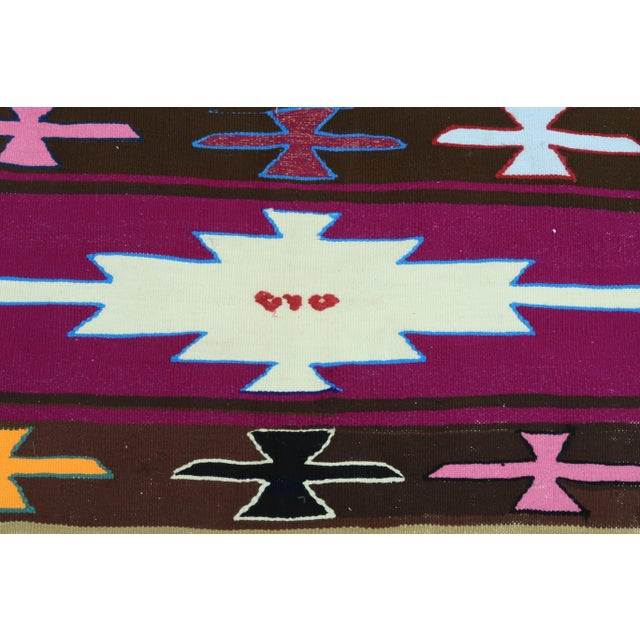 Purple Vintage Turkish Kilim Rug For Sale - Image 8 of 13