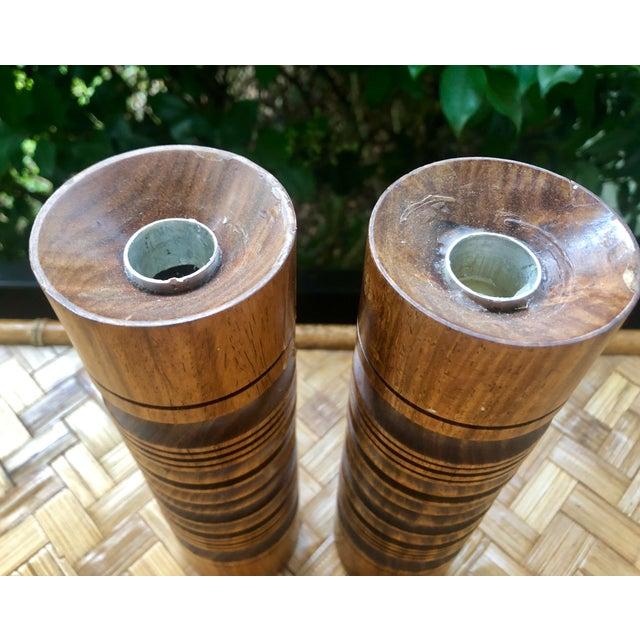 Mid-Century Modern Turned Wood Candlesticks- a Pair For Sale - Image 4 of 9