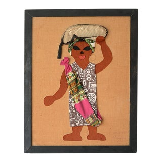 Mid Century African Lady Textile Art Wall Hanging For Sale