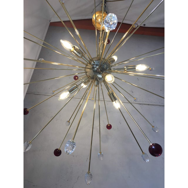 Transparent and Red Murano Glass Triedo and Gold 24k Sputnik Frame For Sale - Image 11 of 13