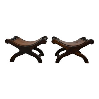 Leather Top Neoclassical Footstool Style Benches - a Pair For Sale