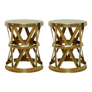 Mid-Century Italian Brass X-Drum Stools - A Pair
