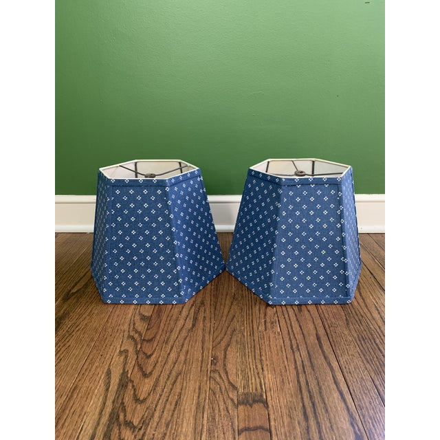 Blue Printed Fabric Lampshades Shades- a Pair For Sale - Image 8 of 8