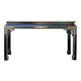 Hollywood Regency Chinoiserie Fretwork Console Table For Sale