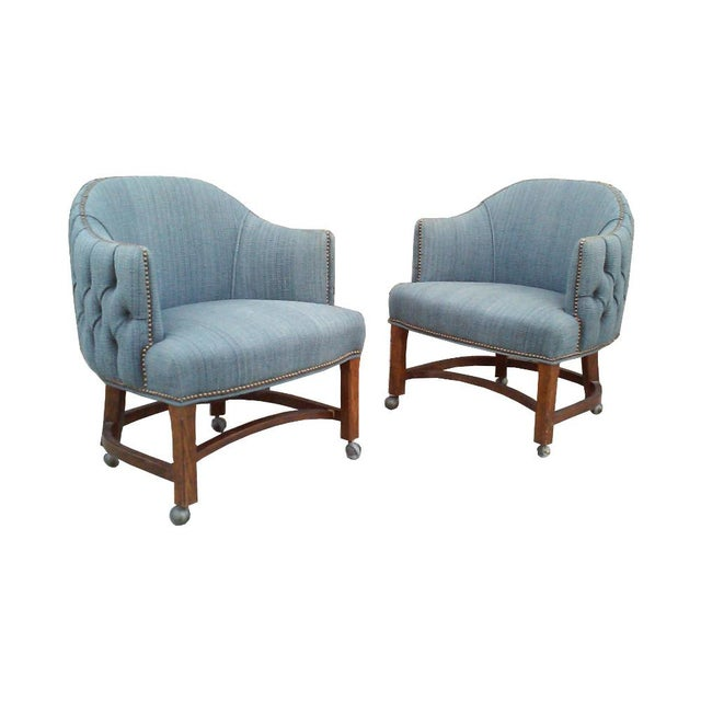 Blue Tufted Club Chairs With Nail Head Trim-A Pair For Sale - Image 10 of 10