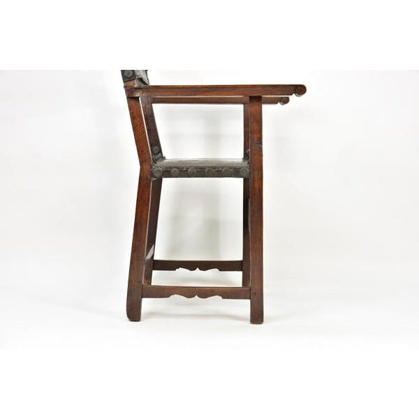 Metal 17th C. Spanish Renaissance Friar Chair For Sale - Image 7 of 13