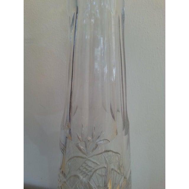 Metal Vintage Slender Cut Lead Crystal Decanter For Sale - Image 7 of 11