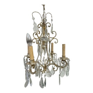 Antique 1940s Painted Metal and Crystal Chandelier For Sale