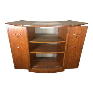 Mid Century Teak Flip Top Home Cocktail Bar Space Saving by Turnidge of London For Sale