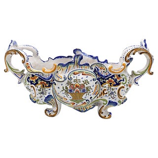 Antique French Faience Rouen Jardiniere For Sale