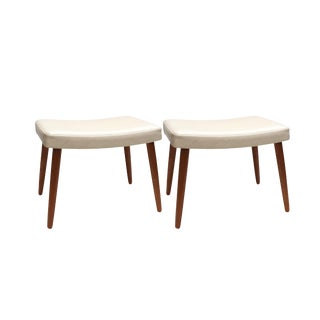 1960s Vintage Upholstered Danish Stools- A Pair For Sale