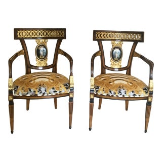 Gianni Versace Zhara Printed Upholstery Hand Painted Chairs - a Pair For Sale