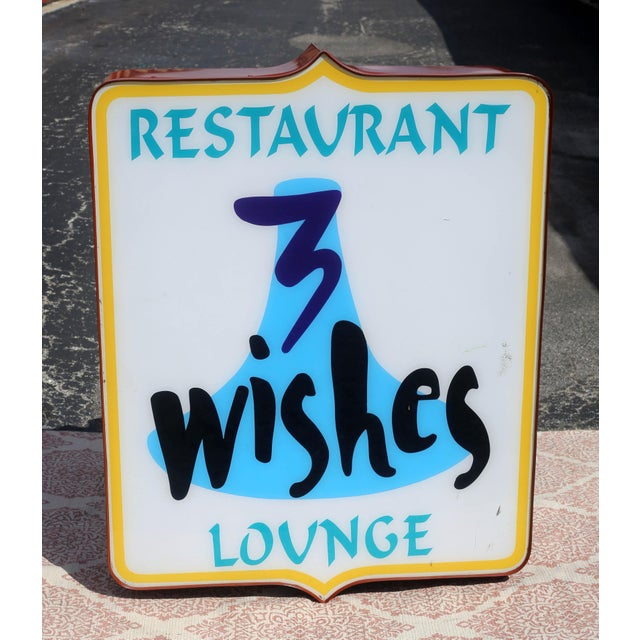Vintage Illuminated Commercial Sign From 3 Wishes Restaurant and Lounge For Sale - Image 9 of 12