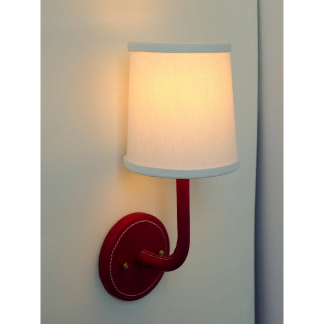 Paul Marra Top-Stitched Leather Wrapped Sconce in Red For Sale In Los Angeles - Image 6 of 7