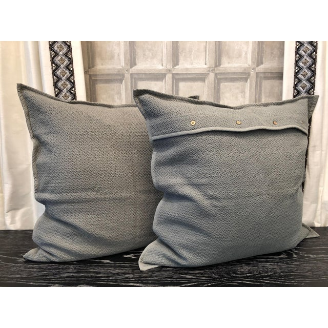 Mid Grey Honeycomb Euro Shams - Set of 2 For Sale - Image 4 of 6