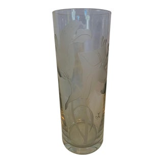 Mid 20th Century Perry Coyle Tall Etched Glass Lily Vase For Sale