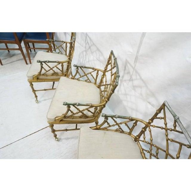 Hollywood Regency 1970s Hollywood Regency Phyllis Morris Metal Bamboo Armchairs - Set of 4 For Sale - Image 3 of 6