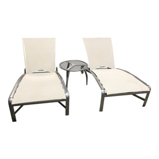 Modern Brown Jordan Patio Furniture Chaise Lounges and Side Table - Set of 3 For Sale