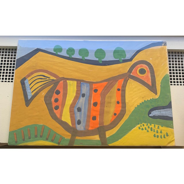1960s 1964 G. L. Long Orange Abstract Acrylic Bird / Animal Painting For Sale - Image 5 of 8