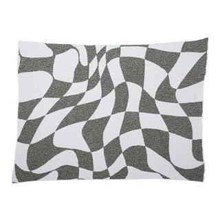Aelfie Wavy Grid Checkerboard Recycled Cotton Throw Blanket