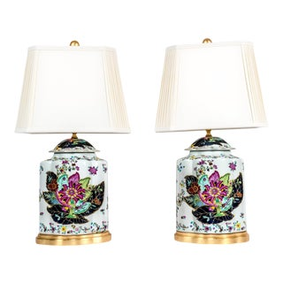 Vintage French Porcelain Lamps with Wood Base - a Pair For Sale