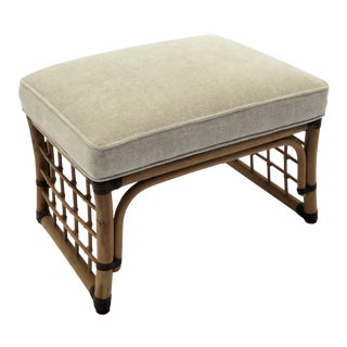 McGuire Style Rustic Style Chenille Upholstered Rattan Wood Ottoman For Sale